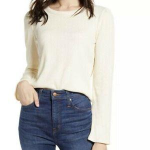 NWT Madewell Women's Cream Off White Rib Gathered Sleeve Top Size M